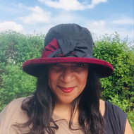 Zara in Black / Burgundy - Available with small or large Brim - Direct from the designer, Peak and Brim Designer Hats