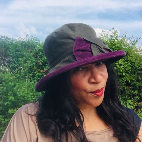 Zara in Green / Blackcurrant - Available with small or large Brim - Direct from the designer, Peak and Brim Designer Hats