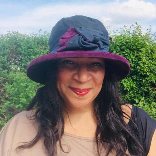 Zara in Navy / Blackcurrant - Available with small or large Brim - Direct from the designer, Peak and Brim Designer Hats