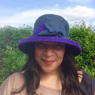 Zara in Navy / Violet - Available with small or large Brim - Direct from the designer, Peak and Brim Designer Hats