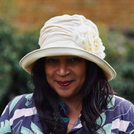 Charity Cream Flower Medium Brim - Direct from the designer, Peak and Brim Designer Hats