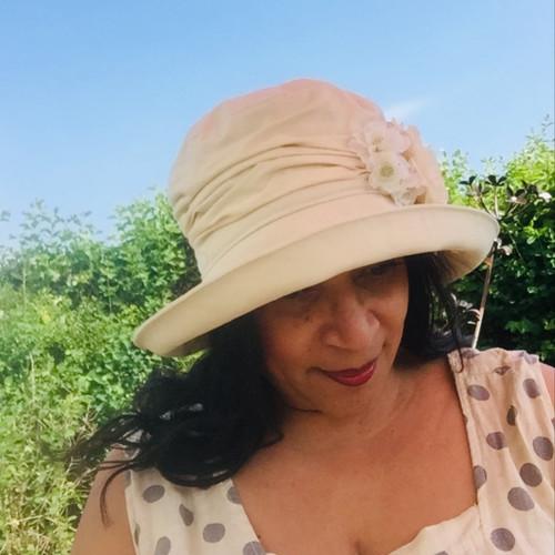 Charity Cream Flower Medium Brim - Direct from the designer, Peak and Brim Designer Hats