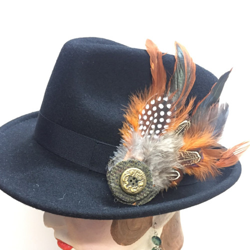 Feather  Brooch - Orange