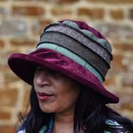 Peak and Brim Designer Hats - Jade Tweed in Burgundy - direct from the designer