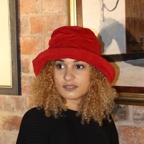 Peak and Brim Designer Hats - Jodie in Blood Red - direct from the designer