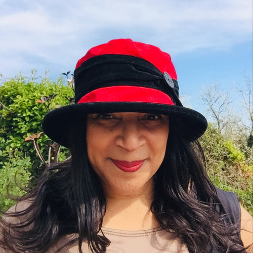 Peak and Brim Designer Hats - Kitty in Blood Red - direct from the designer