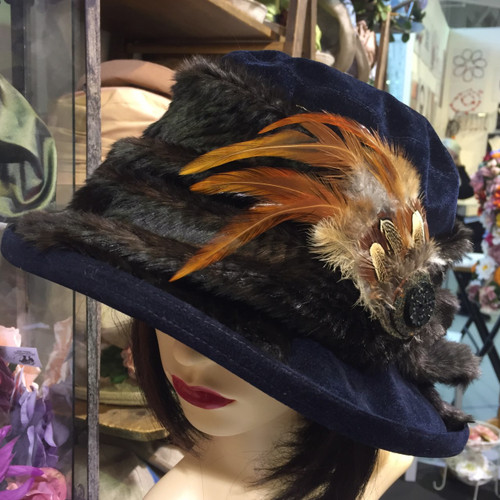 Peak and Brim Designer Hats - Monique in Navy - direct from the designer