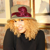 Peak and Brim Designer Hats - Verity in Olive & Burgundy - direct from the designer