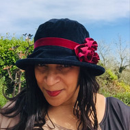 Peak and Brim Designer Hats - Verity in Navy & Burgundy - direct from the designer
