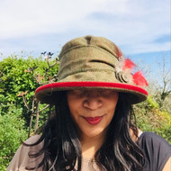 Peak and Brim Designer Hats - Jane in Red - direct from the designer