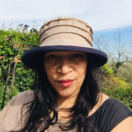 Peak and Brim Designer Hats - Lucy (Two Tone) in Beige & Navy - direct from the designer