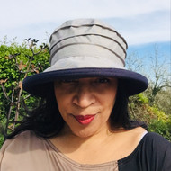 Peak and Brim Designer Hats - Lucy (Two Tone) in  Grey & Navy - direct from the designer