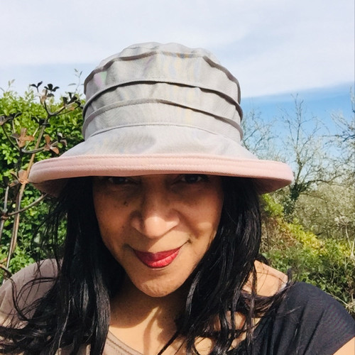 Peak and Brim Designer Hats - Lucy (Two Tone) in  Grey & Vintage Pink - direct from the designer