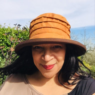 Peak and Brim Designer Hats - Lucy (Two Tone) in  Mustard & Brown - direct from the designer