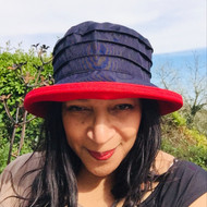 Peak and Brim Designer Hats - Lucy (Two Tone) in  Navy & Red - direct from the designer
