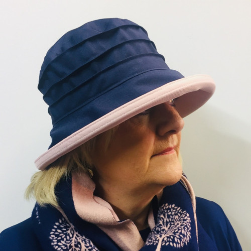 Peak and Brim Designer Hats - Lucy (Two Tone) in  Navy & Vintage Pink - direct from the designer