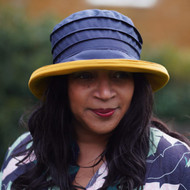 Peak and Brim Designer Hats - Lucy (Two Tone) in Navy & Yellow - direct from the designer