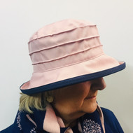 Peak and Brim Designer Hats - Lucy (Two Tone) in Vintage Pink & Navy - direct from the designer