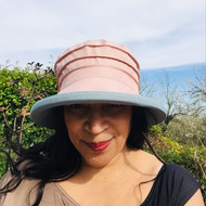 Peak and Brim Designer Hats - Lucy (Two Tone) in Vintage Pink & Vintage Blue - direct from the designer