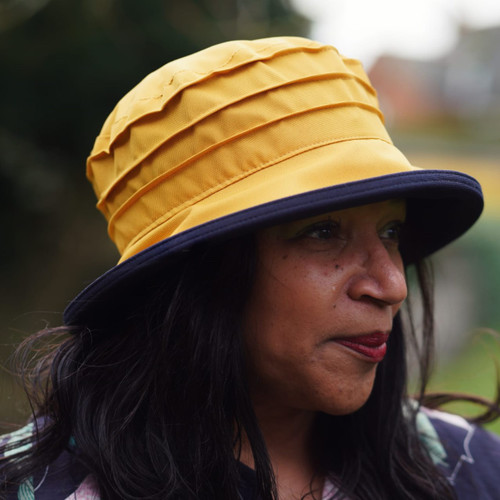 Peak and Brim Designer Hats - Lucy (Two Tone) in Yellow & Navy - direct from the designer