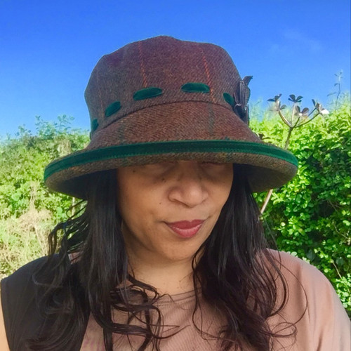 Peak and Brim Designer Hats - Alexia Large Brim in Green - direct from the designer