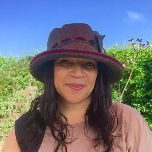 Peak and Brim Designer Hats - Alexia Large Brim in Burgundy- direct from the designer