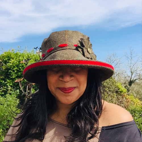 Peak and Brim Designer Hats - Alexia Large Brim in Blood Red - direct from the designer