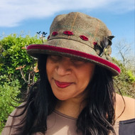 Peak and Brim Designer Hats - Alexia Medium Brim in Burgundy - direct from the designer