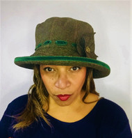 Peak and Brim Designer Hats - Alexia Medium Brim in Green - direct from the designer