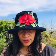 Peak and Brim Designer Hats - Autumn Leaves Large Brim in Navy - direct from the designer