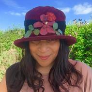 Peak and Brim Designer Hats - Autumn Leaves Small Brim in Burgundy - direct from the designer