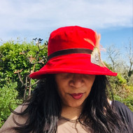 Peak and Brim Designer Hats - Art Deco Peacock in Blood Red - direct from the designer