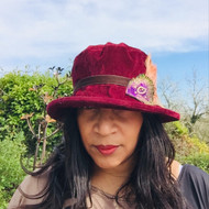 Peak and Brim Designer Hats - Art Deco Peacock in Burgundy - direct from the designer