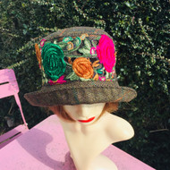 Peak and Brim Designer Hats - Clare - Pink & Green- Direct from the Designer
