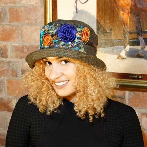Peak and Brim Designer Hats - Clare - Turquoise & Blue - Direct from the Designer