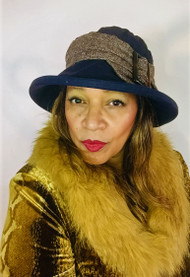 Beverley Large Brim in Navy- Direct from the designer, Peak and Brim Designer Hats