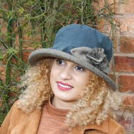 Ginette Large Brim in Navy- Direct from the designer, Peak and Brim Designer Hats