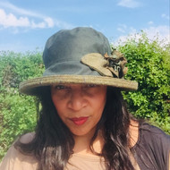 Ginette Large Brim in Green - Direct from the designer, Peak and Brim Designer Hats