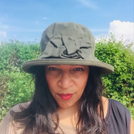 Geraldine Large Brim in Green - Direct from the designer, Peak and Brim Designer Hats