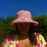 CBFA Large Brim in Dotty Rose- Direct from the designer, Peak and Brim Designer Hats