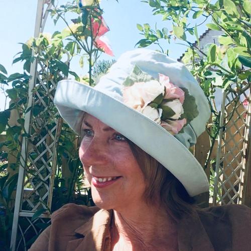 Charity Rose Medium Brim Vintage Blue - Direct from the designer, Peak and Brim Designer Hats