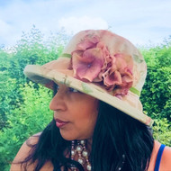 Rebecca (Floral) in Beige, Direct from the designer, Peak and Brim Designer Hats