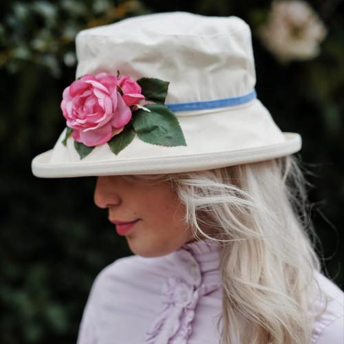 Summer Rose (MB) Cotton - Vintage Pink Rose, Direct from the designer, Peak and Brim Designer Hats
