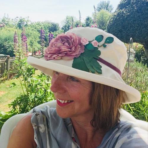 Summer Rose (MB) Cotton - Vintage Purple Flower, Direct from the designer, Peak and Brim Designer Hats