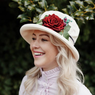 Summer Rose (MB) Cotton - Vintage Red Rose, Direct from the designer, Peak and Brim Designer Hats