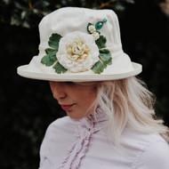 Summer Rose (MB) Cotton - Vintage White Flower, Direct from the designer, Peak and Brim Designer Hats
