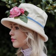 Summer Rose (SB) Cotton - Vintage Pink Rose, Direct from the designer, Peak and Brim Designer Hats
