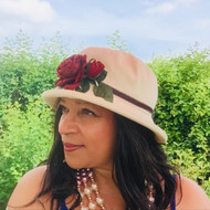 Summer Rose (SB)  - Vintage Red Rose, Direct from the designer, Peak and Brim Designer Hats