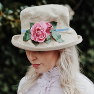 Summer Rose (MB) Linen - Vintage Pink Rose, Direct from the designer, Peak and Brim Designer Hats
