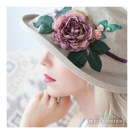 Summer Rose (MB) Linen - Vintage Purple Flower, Direct from the designer, Peak and Brim Designer Hats, Direct from the designer, Peak and Brim Designer Hats